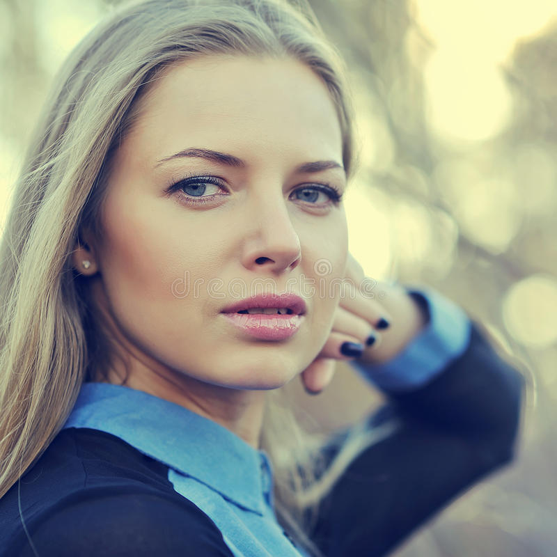 Free Beautiful Blonde Woman Face. Close Up Portrait Of A Fashion Female Model Stock Photos - 46336013