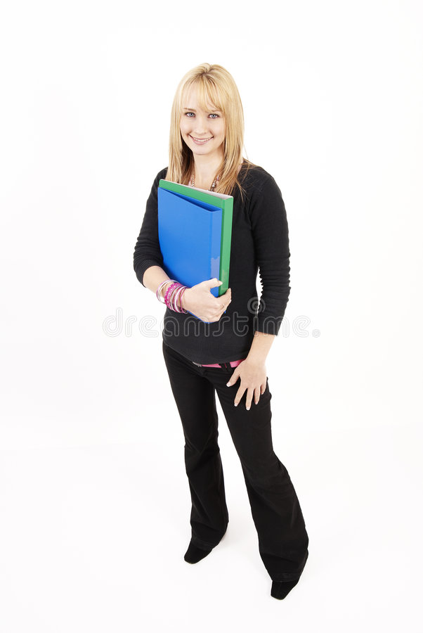 Beautiful blonde woman holding some files stock image