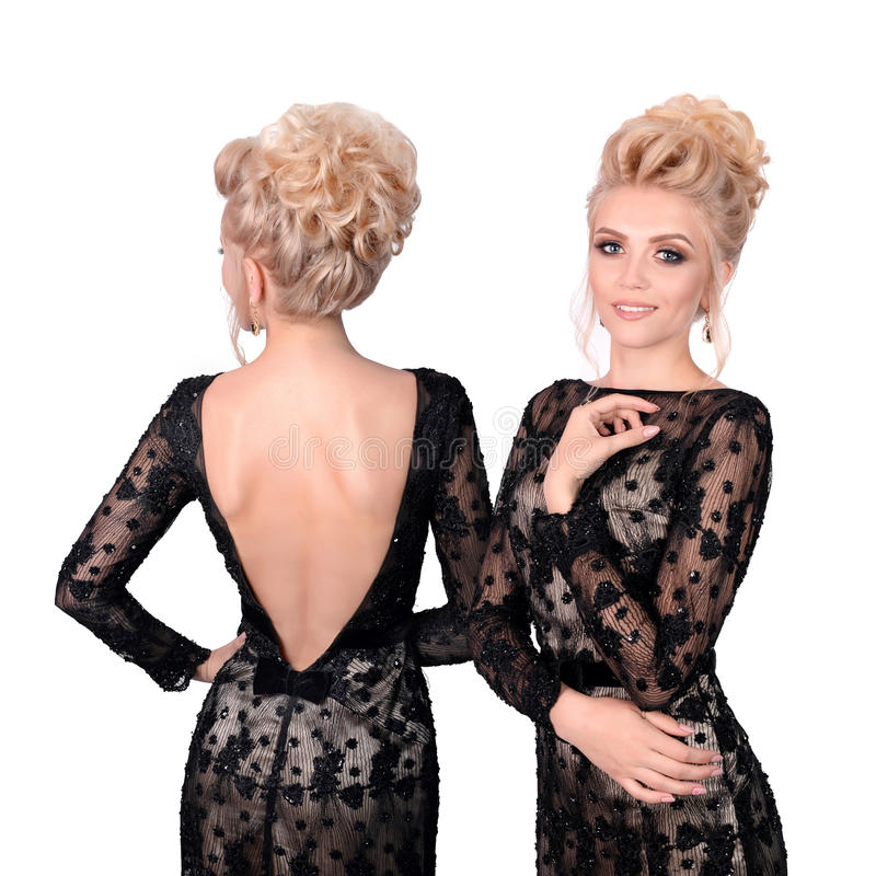 Free Beautiful Blonde Woman In Elegant Black Low Cut Evening Dress With Updo Hairstyle. Front And Back View Isolated On White Royalty Free Stock Photo - 83702865