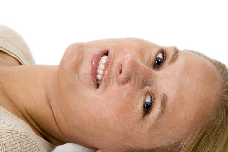 Beautiful Blonde Woman Laying Down Face Closeup