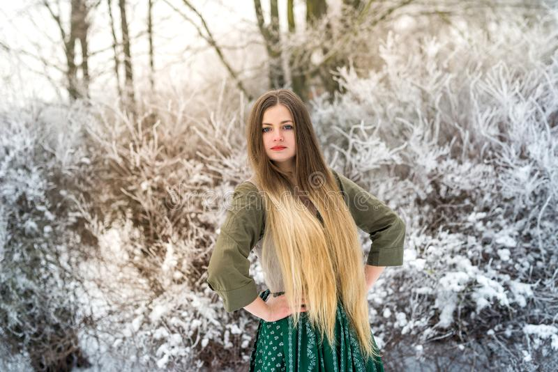 Beautiful blonde woman with long hair in winter park royalty free stock image