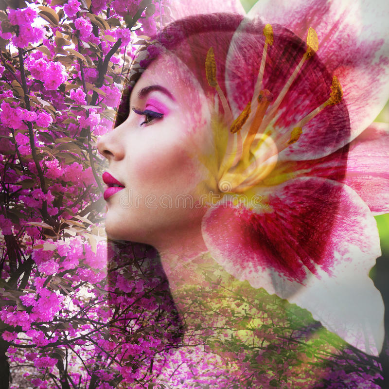 Beautiful blonde woman with pink make-up with flowers. Double exposure.  stock photos