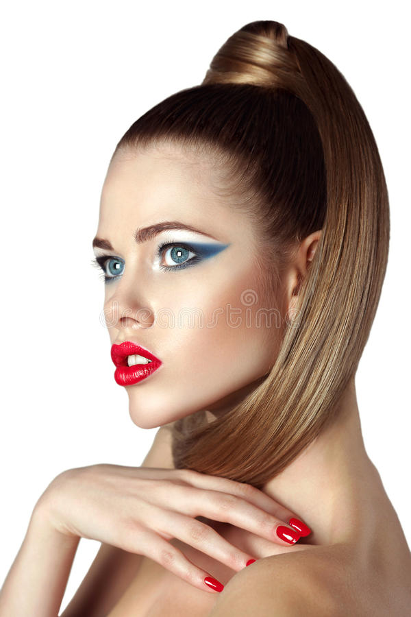 Beautiful Blonde Woman With Red Lips And Nails Stock Image - Image ...