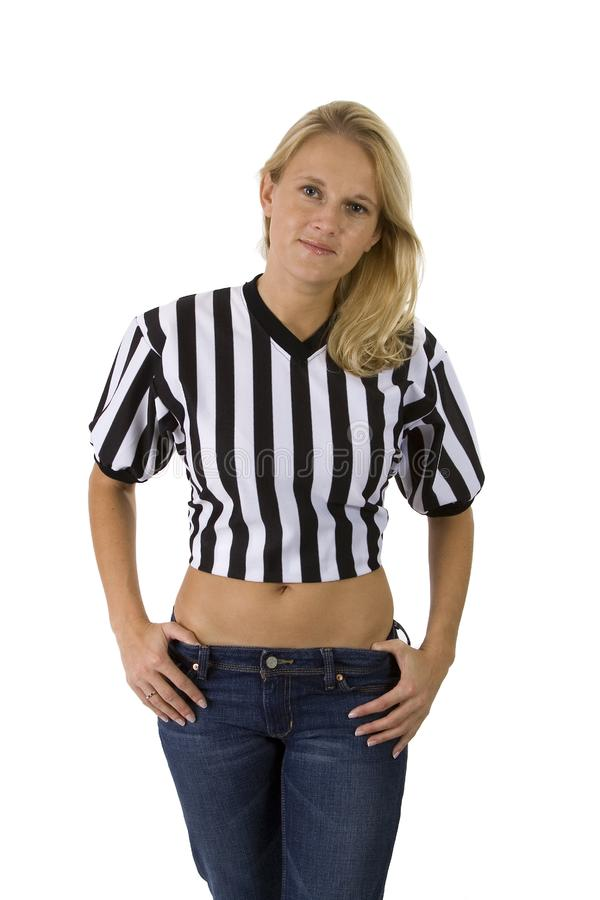 Beautiful Blonde Woman In A Referee Shirt stock photography