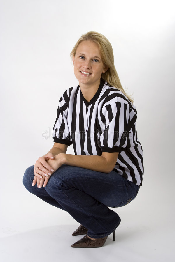 Beautiful Blonde Woman In A Referee Shirt royalty free stock photos
