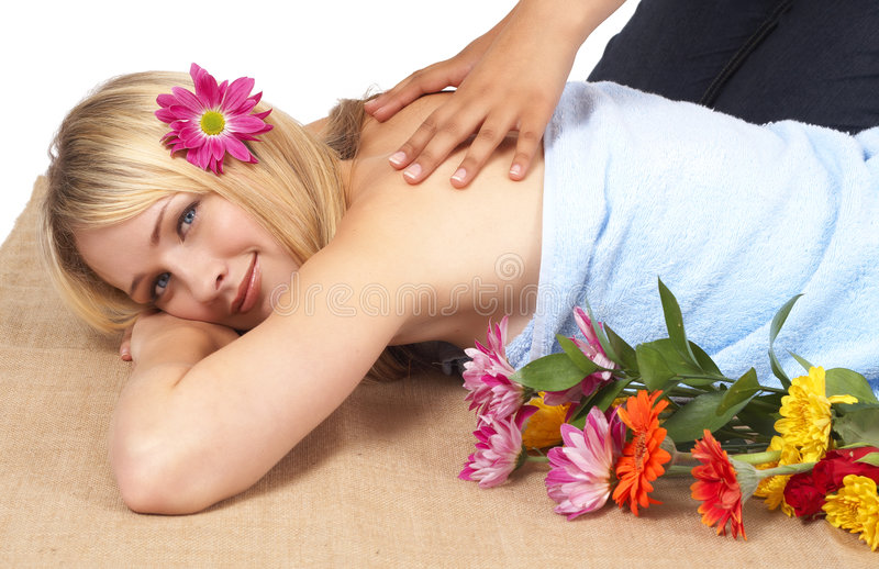 Beautiful Blonde Woman At A Spa Stock Images