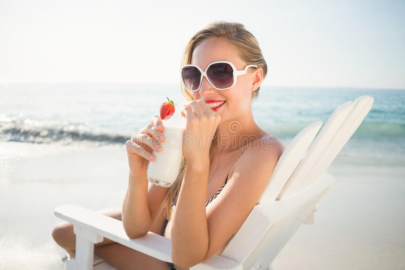 beautiful blonde woman on a sunny day royalty free stock photos