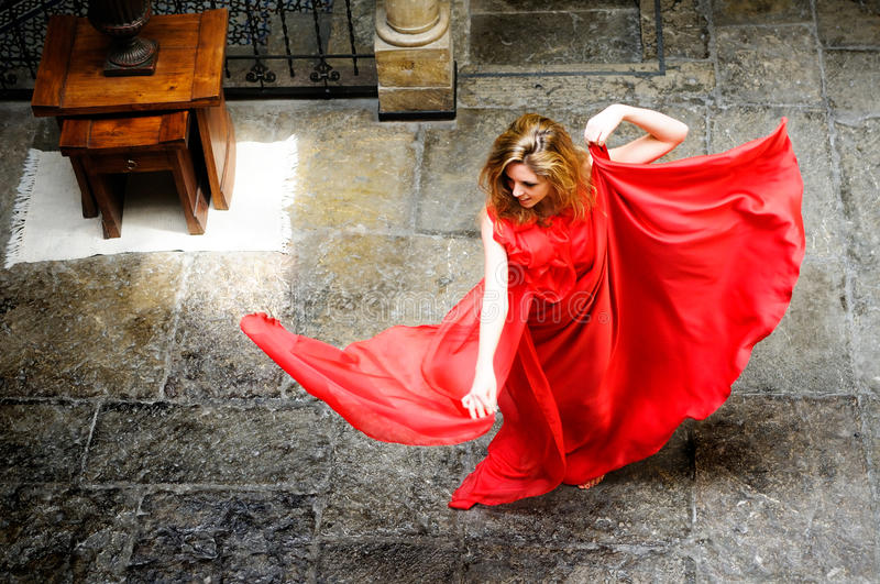 Download Beautiful Blonde Woman Wearing A Red Dress Stock Image - Image: 25146063