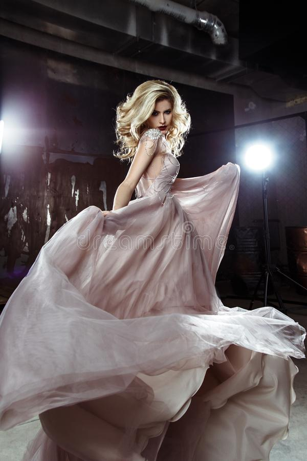Download Beautiful Blonde Young Bride Woman In Color Wedding Dress Rock Style Stock Image