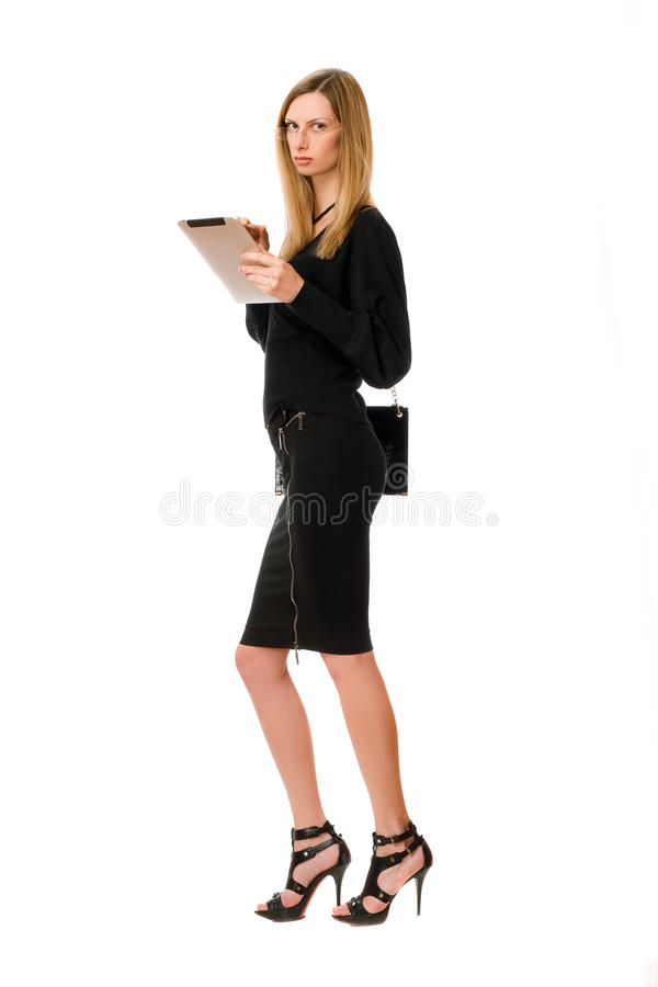Blonde young woman with the glasses royalty free stock images