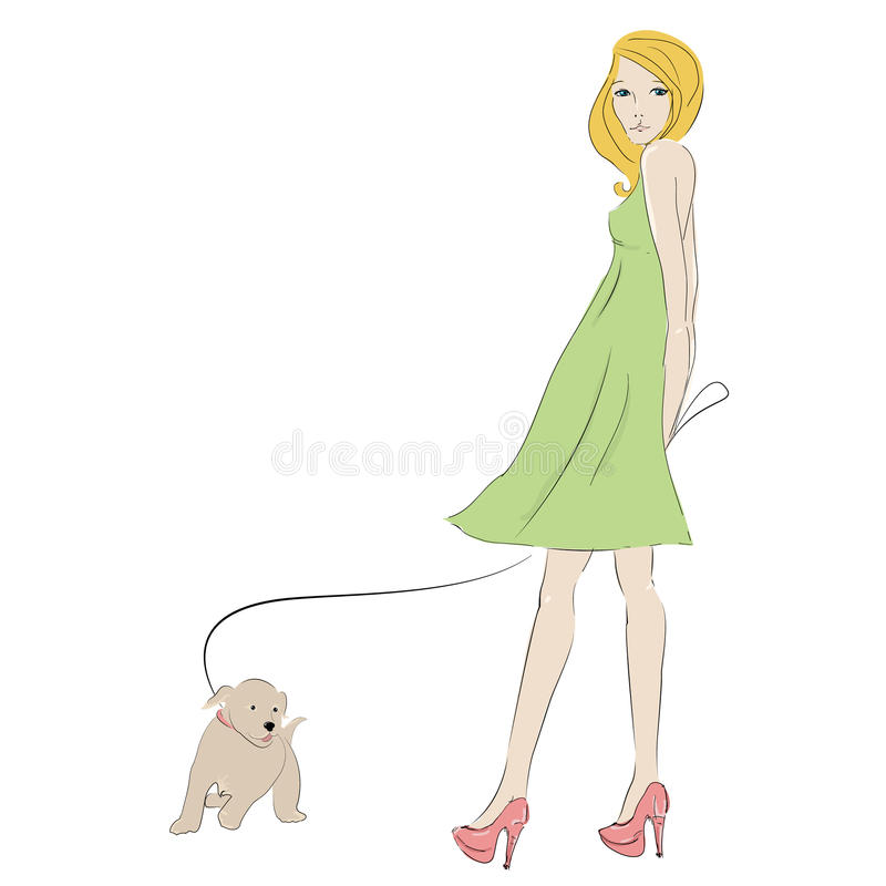 Beautiful blonde young woman with with little pupp stock illustration