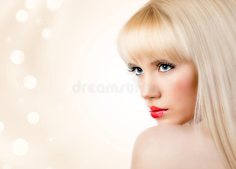 Download Beautiful Blonde Young Woman With Red Lips Stock Image - Image: 28179973