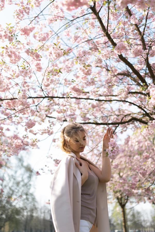 Beautiful blonde young woman in Sakura Cherry Blossom park in Spring enjoying nature and free time during her traveling. Tourist free time royalty free stock photos