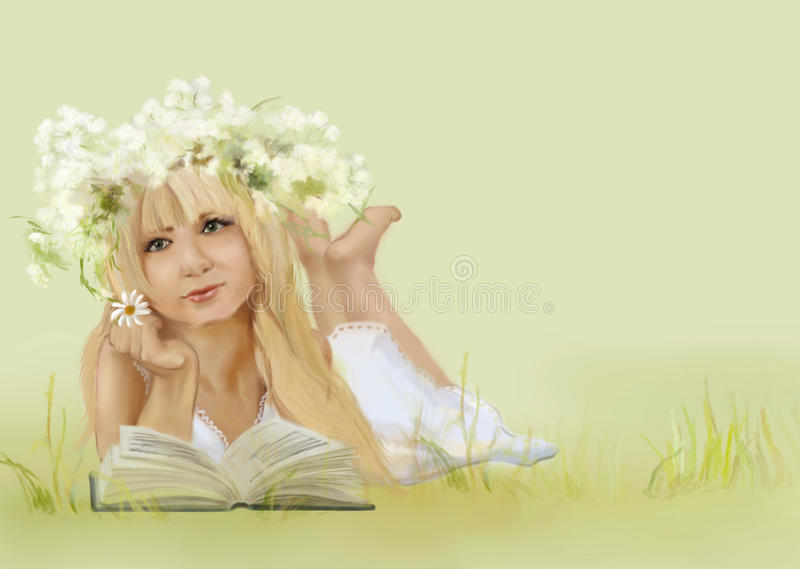 Download Beautiful blondie girl stock illustration. Image of nature - 10673708