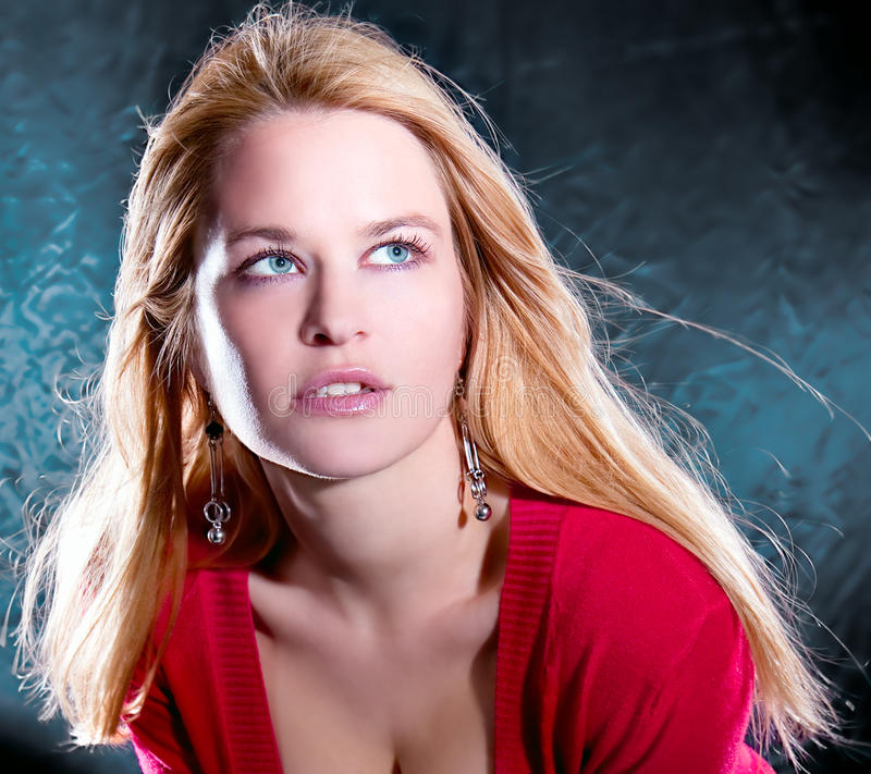 Beautiful blondie woman with green eyes royalty free stock photo