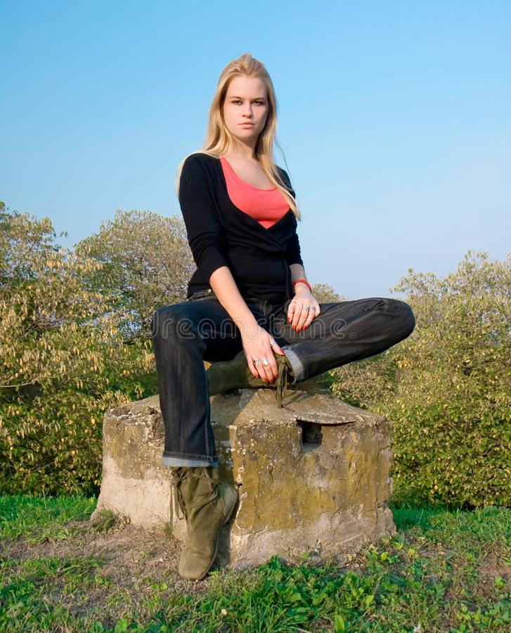 Download Beautiful Blondy Woman Posing On Autumn Stock Image - Image: 6841879