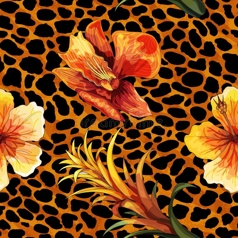 Beautiful blooming flower on animal skin. Leopard seamless pattern vector print royalty free illustration