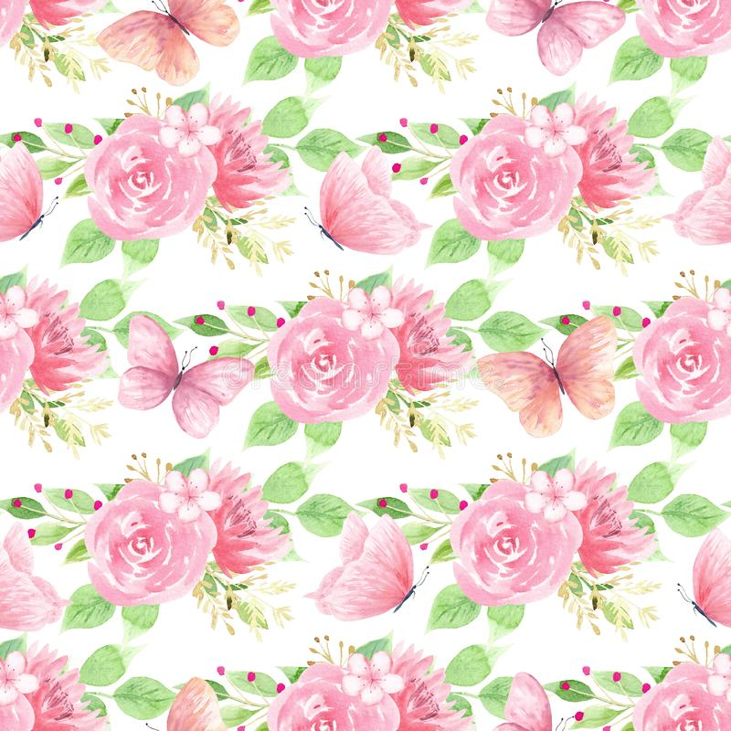 Beautiful blooming flowers seamless pattern vector illustration