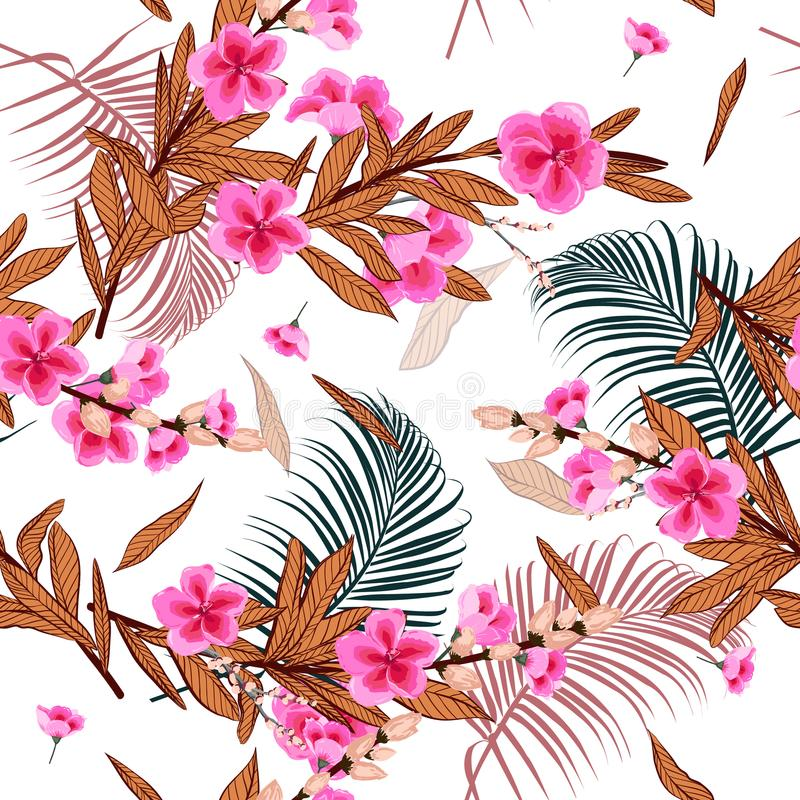 Beautiful Blooming Stylish Garden florals pattern in the many kind of flowers. Botanical . Seamless vector texture.fashion prints stock illustration