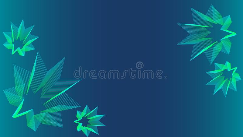 Beautiful blue background with blue green stars royalty free stock image