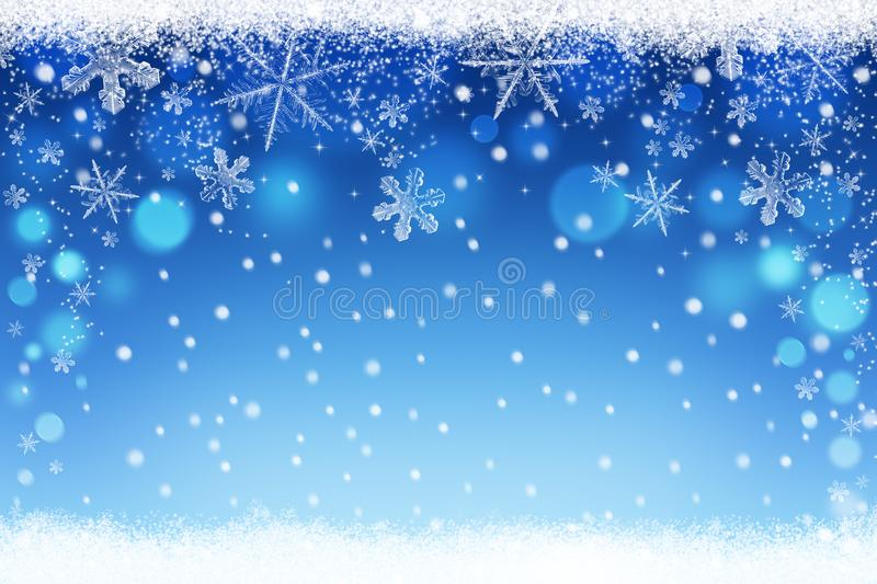 Beautiful blue blurred Christmas and Winter snow sky bokeh background with crystal snowflakes vector illustration