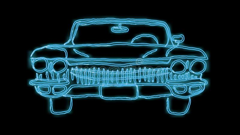 Beautiful blue bright glowing abstract neon sign of a powerful fast old retro American classic car from the 60s, 70s, 80s, 90s vector illustration