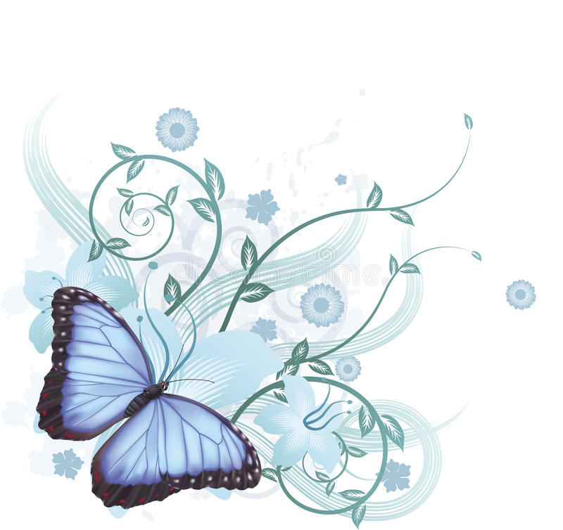 Download Beautiful Blue Butterfly Background Stock Vector - Illustration of artistic, floral: 18992730