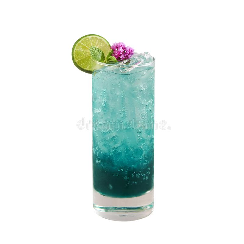 Beautiful blue color cocktail with lime slice, isolated on white background, with clipping path stock photo