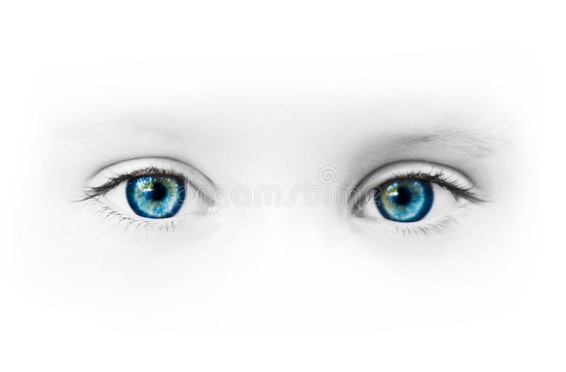 Beautiful blue eyes. Of the little girl stock image