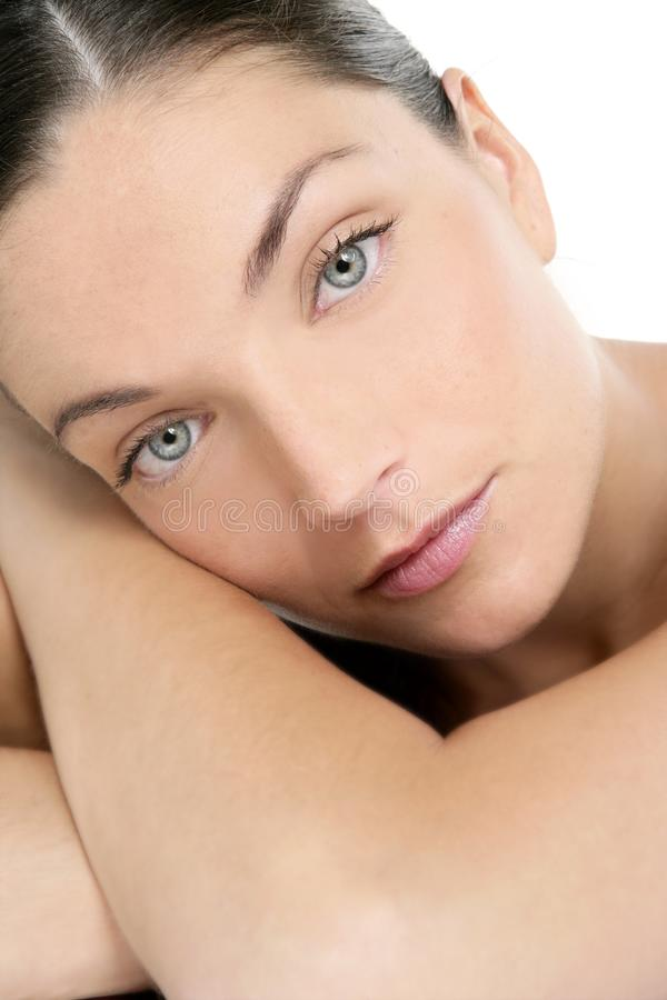 Beautiful blue eyes perfect woman clean portrait stock images