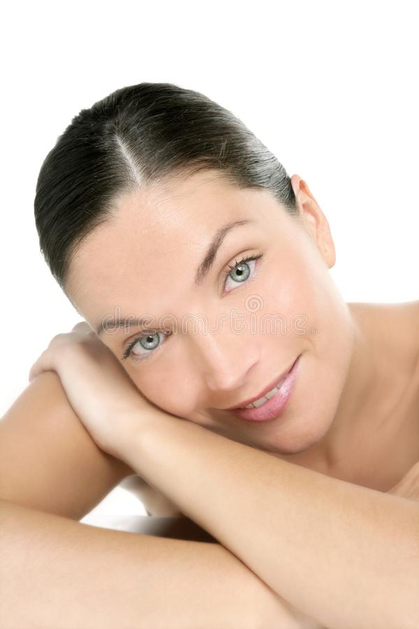 Beautiful blue eyes perfect woman clean portrait royalty free stock images