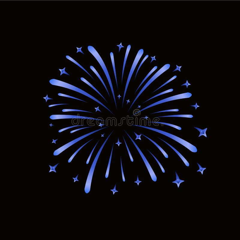 Beautiful blue firework. Bright firework isolated on black background. Light blue decoration firework for Christmas, New vector illustration