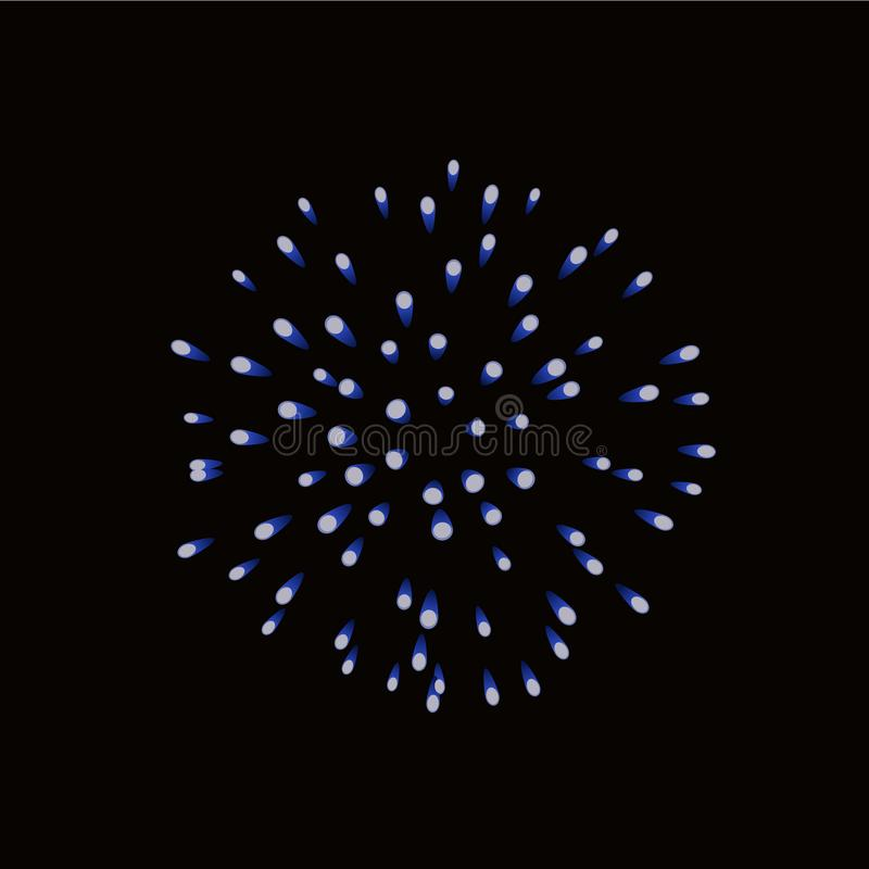 Beautiful blue firework. Bright firework isolated black background. Light blue decoration firework for Christmas, New royalty free illustration