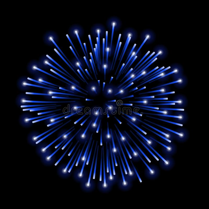 Free Beautiful Blue Firework. Bright Salute On Black Background. Light Blue Decoration Firework For Christmas, New Stock Photography - 112974152