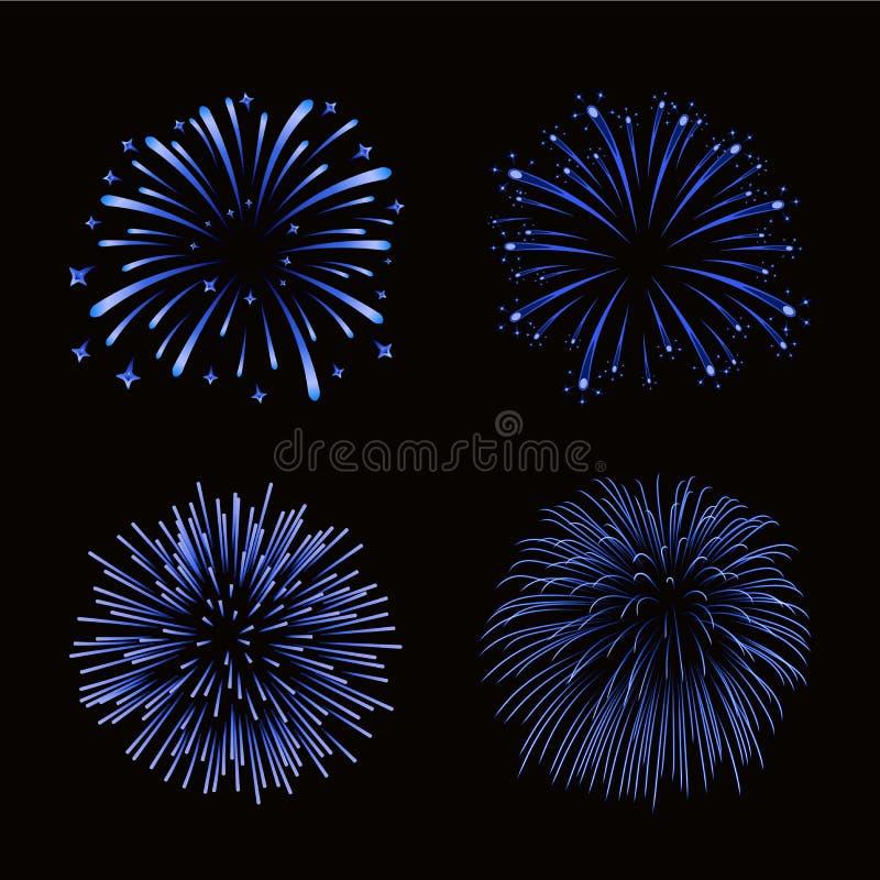 Beautiful blue fireworks set. Bright fireworks isolated black background. Light blue decoration fireworks for Christmas stock illustration
