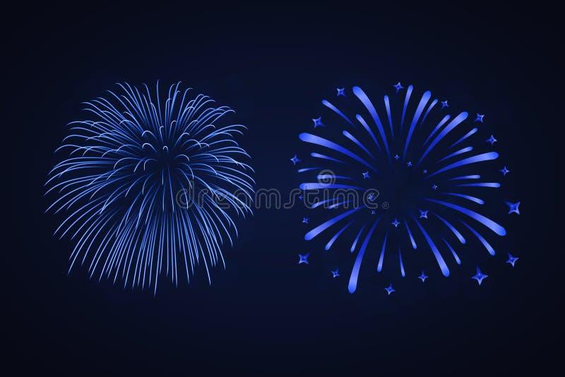Beautiful blue fireworks set. Bright fireworks isolated black background. Light blue decoration fireworks for Christmas royalty free illustration