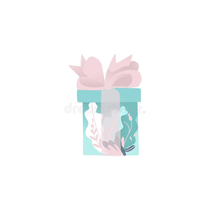 Beautiful blue gift box wrapped in decorative paper and transparent pink ribbon with bow. royalty free illustration