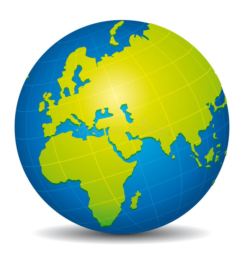 Beautiful blue and green 3d globe. Africa, Europe and Asia stock illustration
