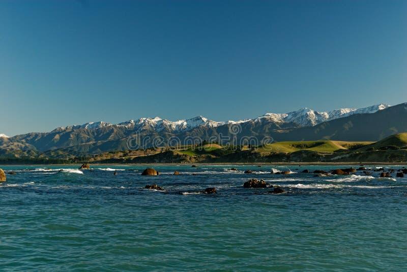 Snow capped mountains in Kaikoura, New Zealand stock photo