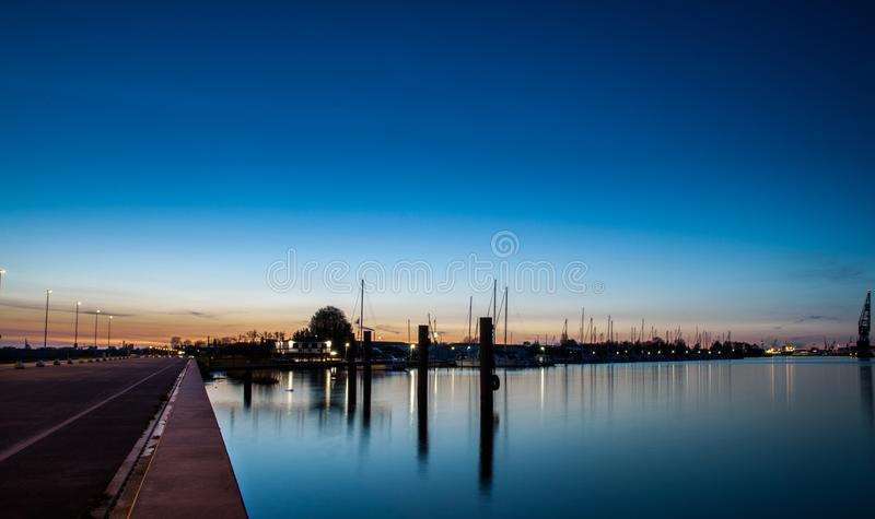 Blue hour in northern Germany royalty free stock image