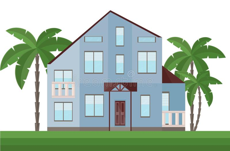 Beautiful blue house architecture facade and palm trees Vector illustration. S stock illustration