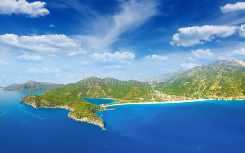 Beautiful blue lagoon and coastline in Oludeniz, Turkey. Aerial view of beautiful blue lagoon and coastline in Oludeniz, Fethiye district, Turquoise Coast of stock photos