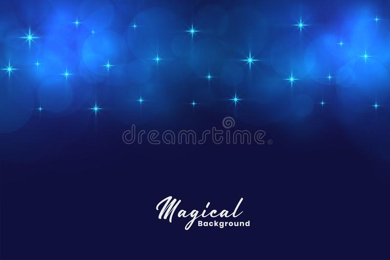Beautiful blue magical stars and bokeh lights background stock illustration