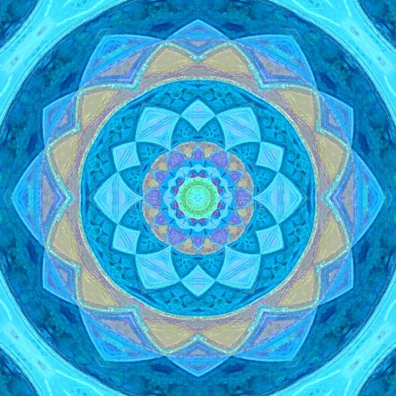 Beautiful blue mystical lace ornament, arabesque mandala. Beautiful blue mystical lace ornament, arabesque pastel mandala royalty free illustration