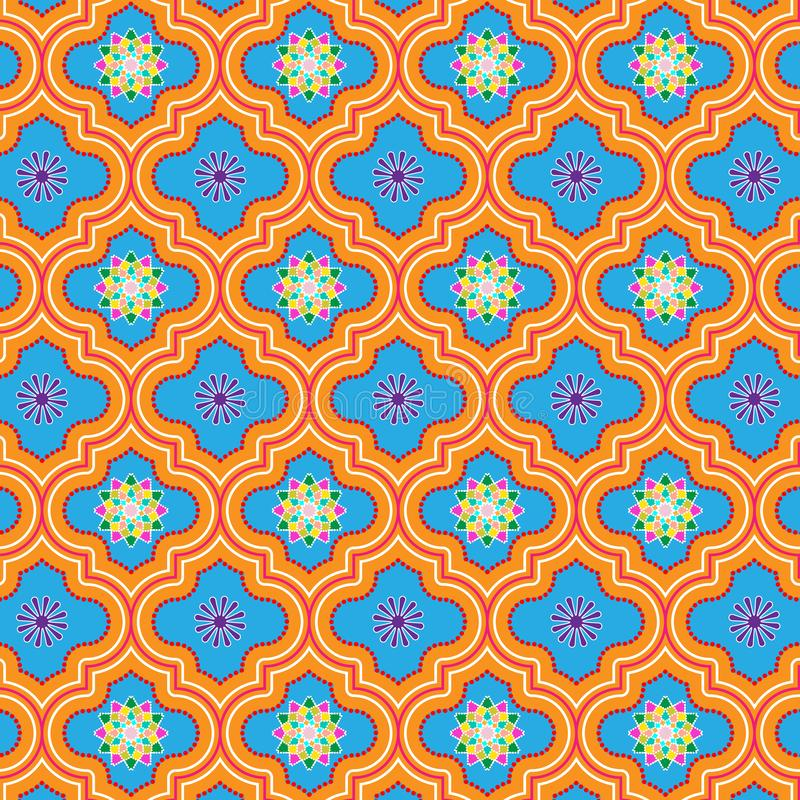 Beautiful blue and orange decorated Moroccan seamless pattern with colorful floral designs royalty free illustration