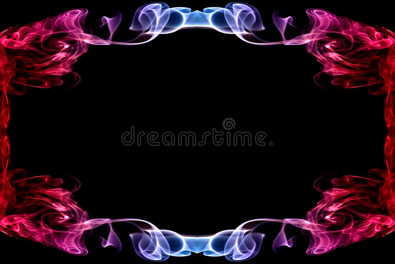 Beautiful Abstract Frame Made Of Red And Blue Smoke Stock