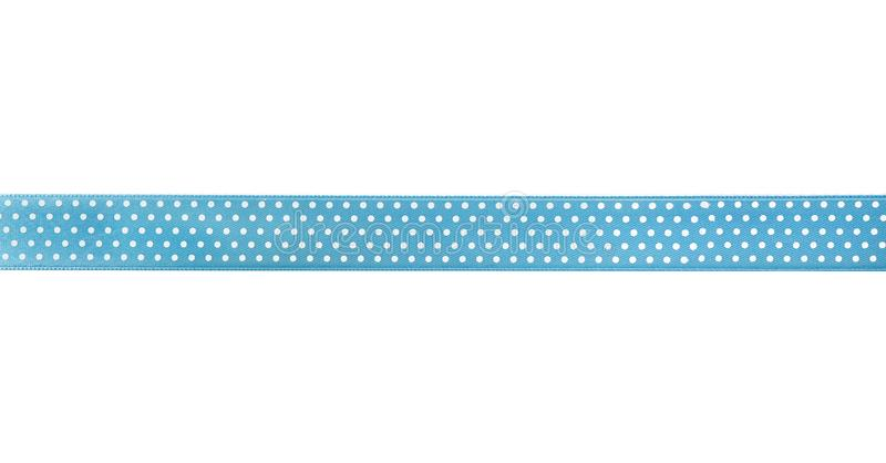 Beautiful blue ribbon with polka dot pattern, isolated on white stock photos