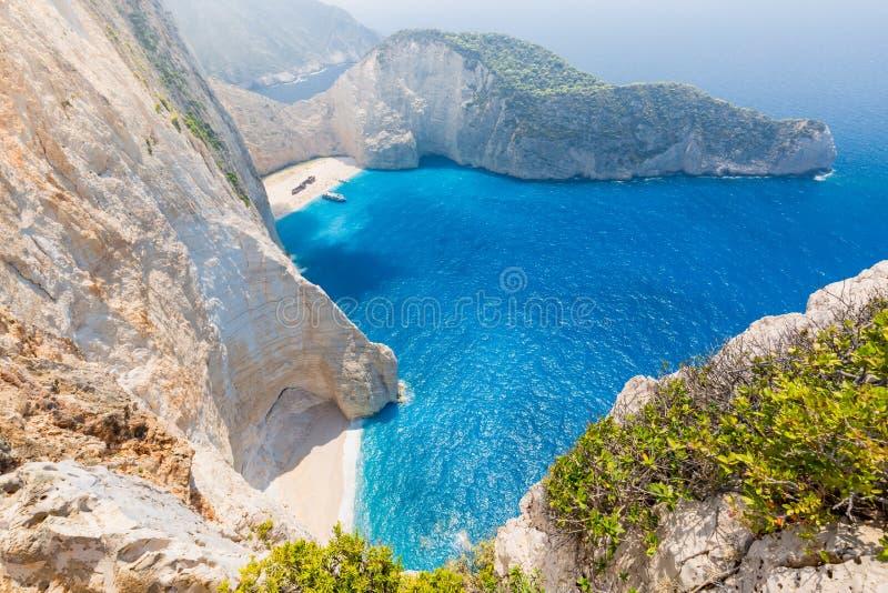 Beautiful blue sea and cliffs. Navagio Beach in Zakynthos island, Greece stock photos