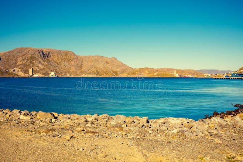 Beautiful blue seascape. Mageroya island, Norway. Beautiful blue seascape. Wild nature of Norway. Nordkapp, Mageroya island, Honningsvag stock image