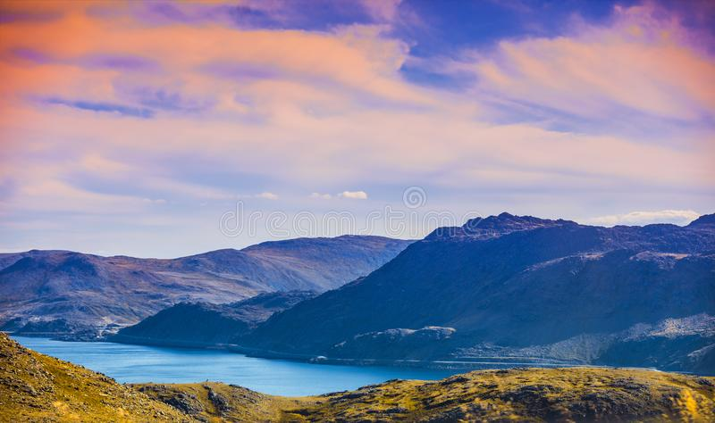 Beautiful blue seascape at sunset. Mageroya island, Norway. Beautiful blue seascape at sunset. Wild nature Norway. Nordkapp, Mageroya island Honningsvag royalty free stock images